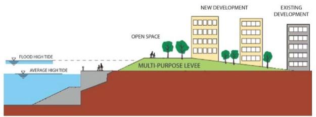 Cross-section of a multi-purpose levee. (Photo: Arcadis/FXFOWLE)