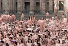 Photographer Spencer Tunick shot this photo in Bogotá, Colombia last week.