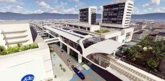 A rendering of plans for a metro station at Bogotá's Plaza de las Américas.