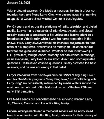 Just-In: Broadcasting Legend, Larry King Dies at 87