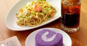 Pancit and Ube Roll with Drink