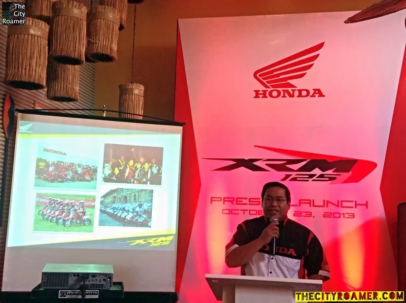 Honda Philippines Advertising and Sales Manager Dennis Restor at the Honda XRM 125 Press Launch
