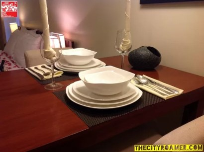 dining table setup at Azalea Residences Baguio Romantic Suite