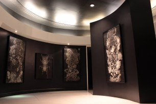 Charcoal on Paper by Mark Adrao (Left) - Complicated by Lopez Museum