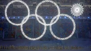 The Olympic Rings at the Sochi 2014 Winter Olympics Opening Ceremony
