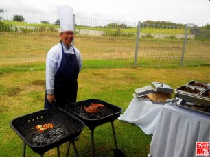 Chef grilling our food at Aquaria Beach Resort