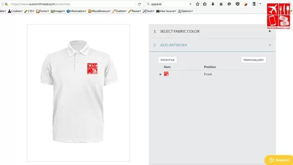 customizing a pique shirt on CustomThread website
