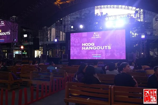 The big screen at the Globe Iconic Store for HOOQ Hangouts