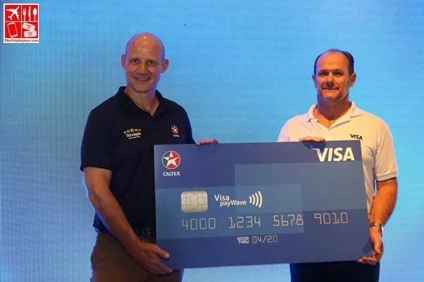 CPI Country Chairman Peter Morris and Stuart Tomlinson- Visa Country Manager for Philippines and Guam at the Caltex Visa payWave