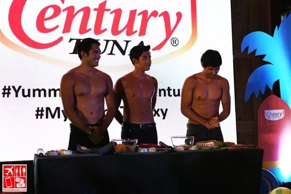 Shirtless Gerald, Paulo, and Matteo at the Century Tuna My Recipe to Sexy event