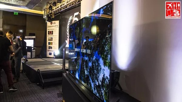 77-inch LG Signature OLED TV viewed from extreme right