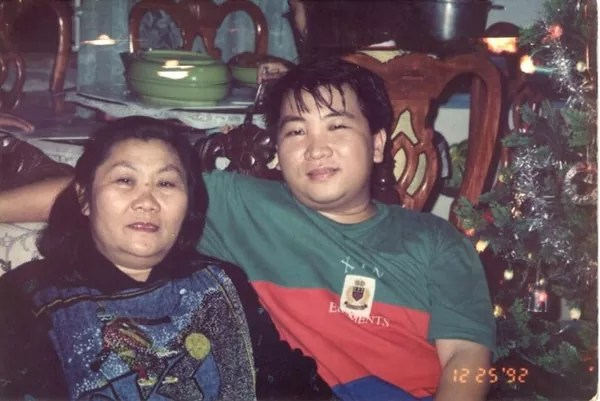 Christmas 1992 with my mom