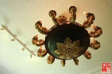 A chandelier at JB Betis Woodcraft