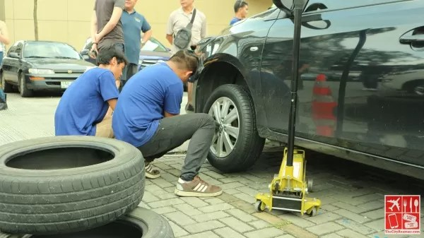 Tire replacement ongoing at the Great Goodyear Sale Kickoff