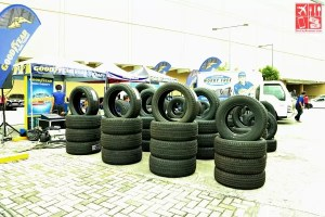 Tires on display at the Goodear Sale Kickoffy