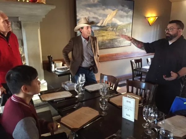 Lunch at the Bow Valley Ranche Restaurant with Michael McLean (in the cowboy hat) and Executive Chef Jean-Francois Fortin