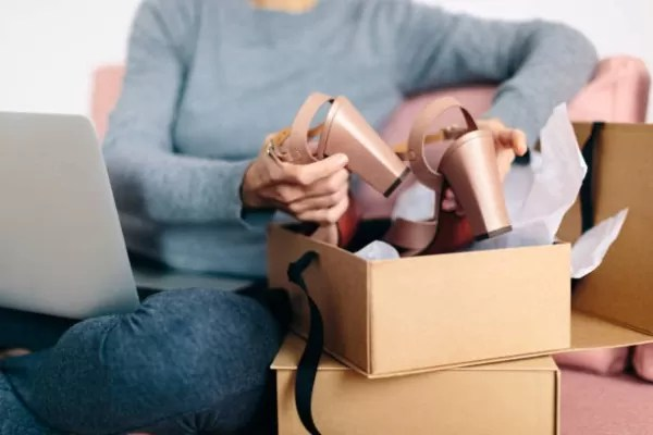 item received - an online shopper unpacks her delivery