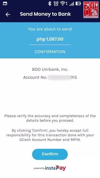 Deposit Money to BDO: Prompt confirming transaction