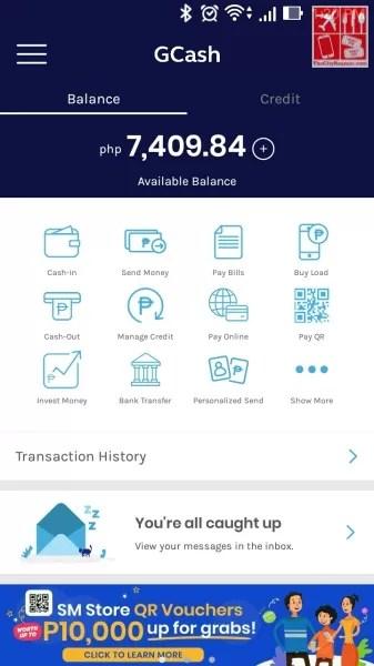 GCash App Main Page