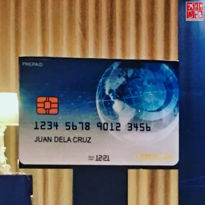 A giant replica of the OmniPay Diners Club Forex Prepaid Card