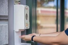Hand sanitizer dispenser available at Hongkong Disneyland