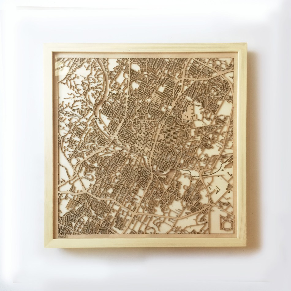 Austin CityWood Minimal Wooden map wood laser cut maps https://thecitywood.com/ CityWood is a wooden map artwork. City streets, water CityWood - Laser Cut Wooden Maps - Award Wining Design by architect and designer Hubert Roguski