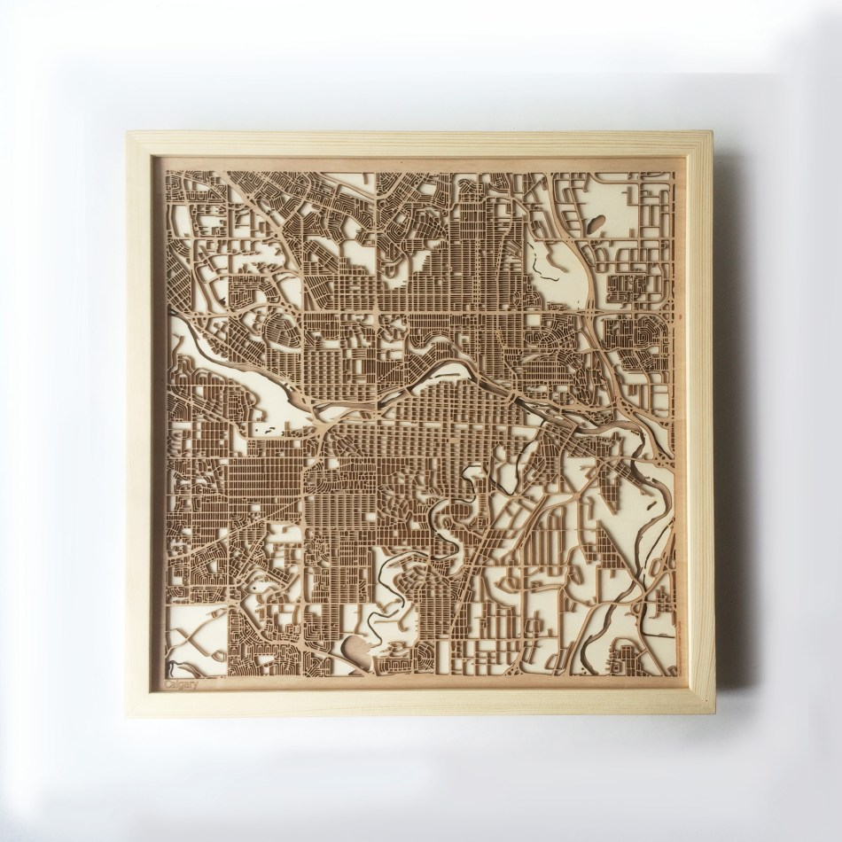 Calgary CityWood Minimal Wooden map wood laser cut maps https://thecitywood.com/ CityWood is a wooden map artwork. City streets, water CityWood - Laser Cut Wooden Maps - Award Wining Design by architect and designer Hubert Roguski
