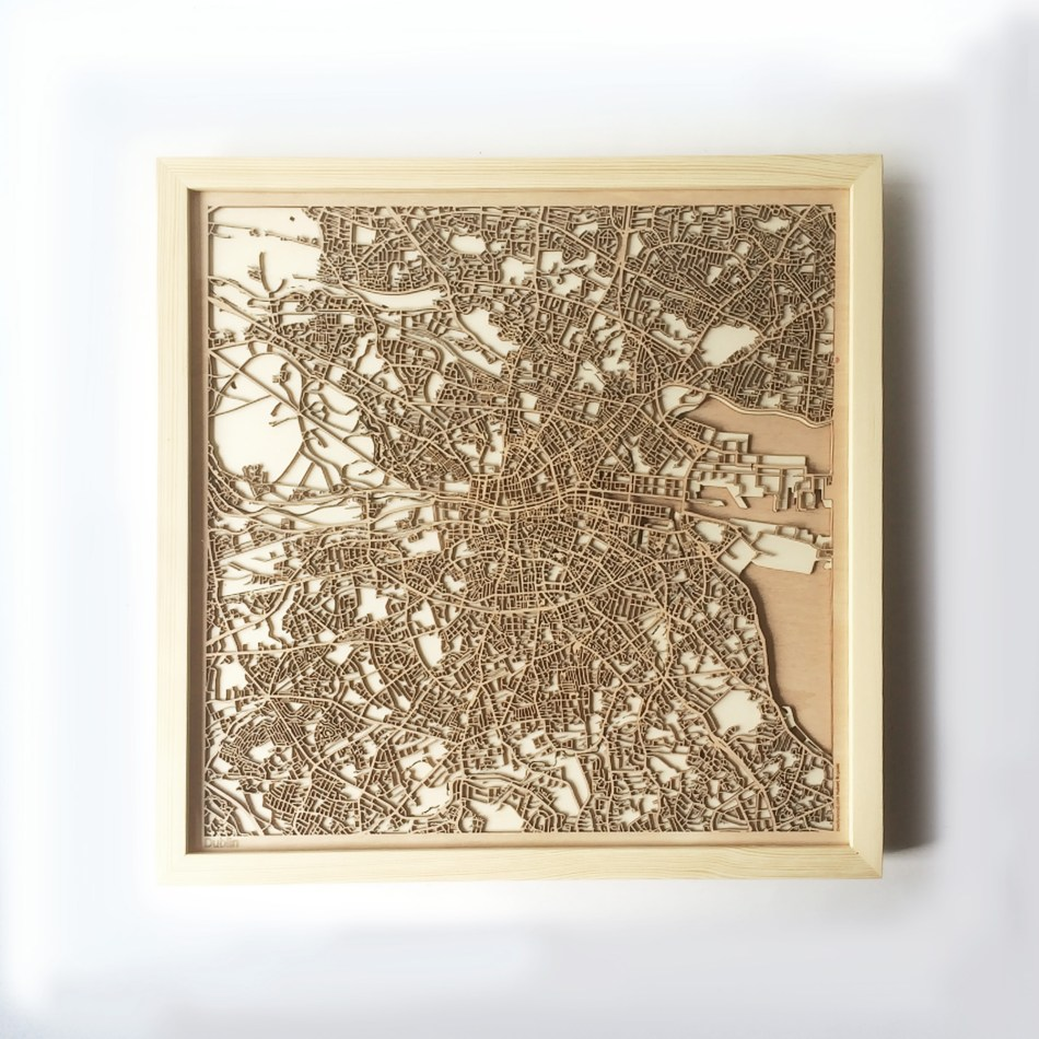 Dublin CityWood Minimal Wooden map wood laser cut maps https://thecitywood.com/ CityWood is a wooden map artwork. City streets, water CityWood - Laser Cut Wooden Maps - Award Wining Design by architect and designer Hubert Roguski
