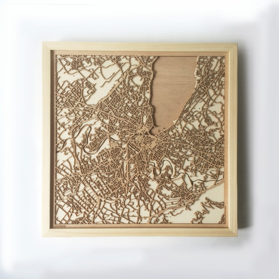 Geneva CityWood Minimal Wooden map wood laser cut maps https://thecitywood.com/ CityWood is a wooden map artwork. City streets, water CityWood - Laser Cut Wooden Maps - Award Wining Design by architect and designer Hubert Roguski