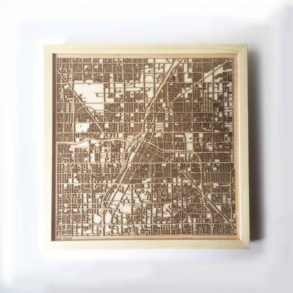 Las Vegas CityWood Minimal Wooden map wood laser cut maps https://thecitywood.com/ CityWood is a wooden map artwork. City streets, water CityWood - Laser Cut Wooden Maps - Award Wining Design by architect and designer Hubert Roguski