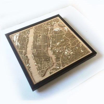New York CityWood Minimal Wooden map wood laser cut maps
