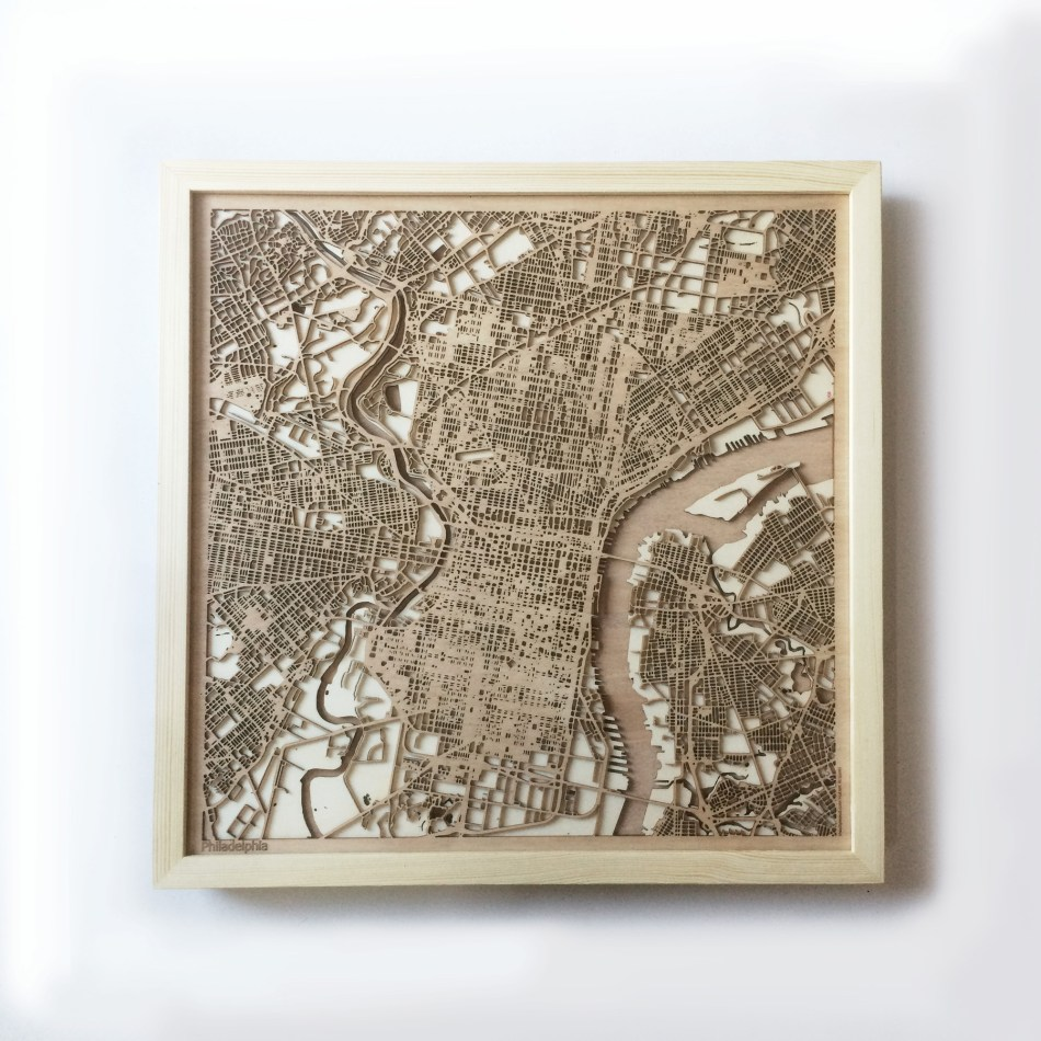 Philadelphia CityWood Minimal Wooden map wood laser cut maps https://thecitywood.com/ CityWood is a wooden map artwork. City streets, water CityWood - Laser Cut Wooden Maps - Award Wining Design by architect and designer Hubert Roguski
