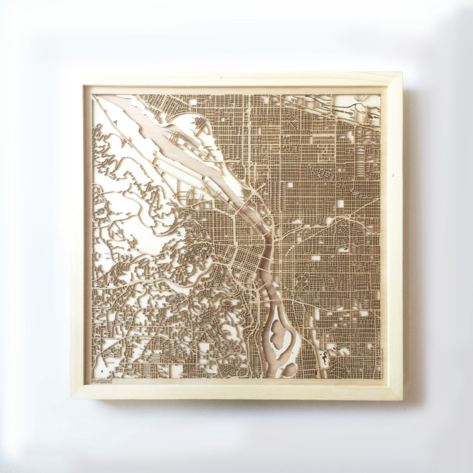 Portland CityWood Minimal Wooden map wood laser cut maps https://thecitywood.com/ CityWood is a wooden map artwork. City streets, water CityWood - Laser Cut Wooden Maps - Award Wining Design by architect and designer Hubert Roguski