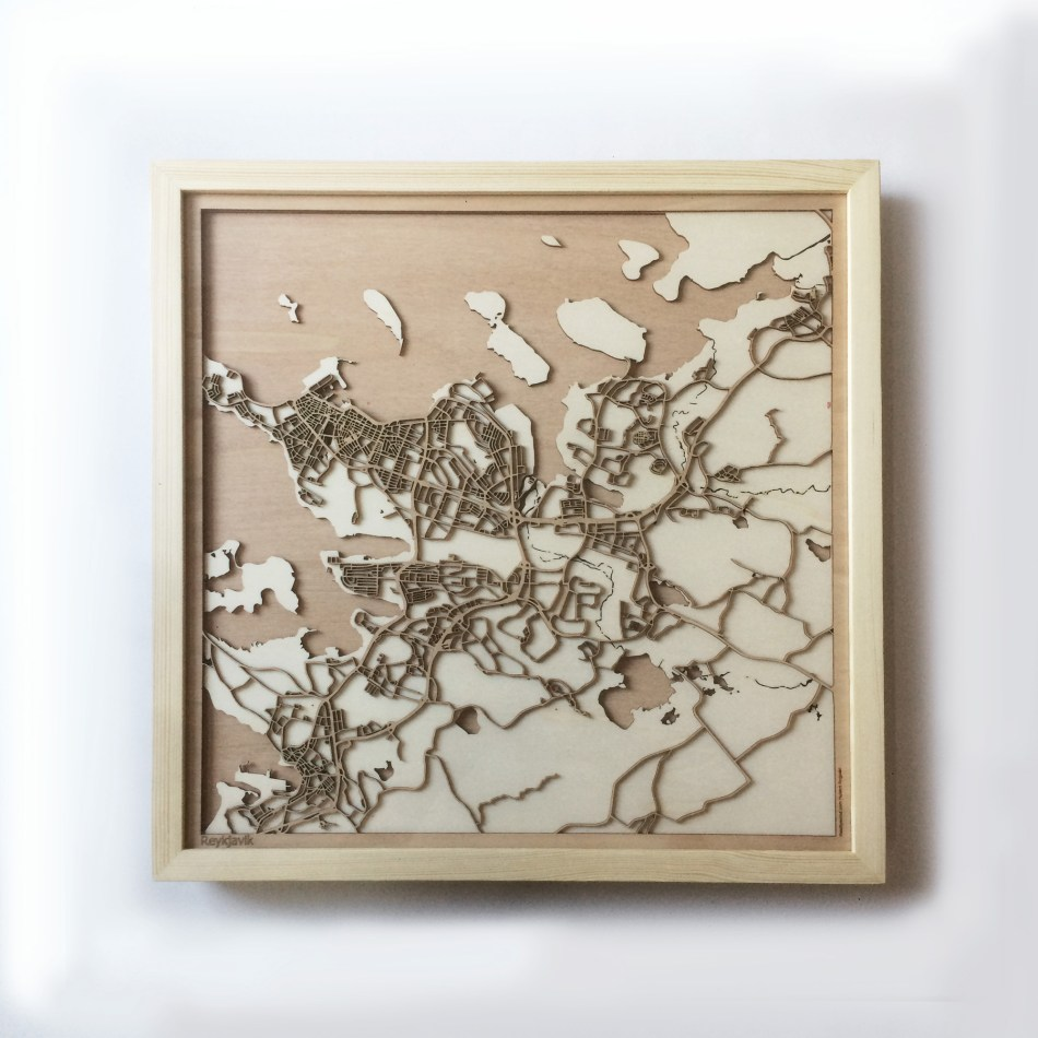 Reykjavik CityWood Minimal Wooden map wood laser cut maps https://thecitywood.com/ CityWood is a wooden map artwork. City streets, water CityWood - Laser Cut Wooden Maps - Award Wining Design by architect and designer Hubert Roguski