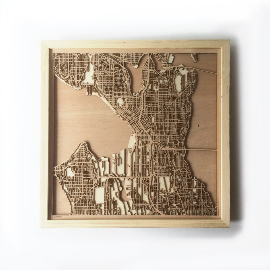 Seattle CityWood Minimal Wooden map wood laser cut maps https://thecitywood.com/ CityWood is a wooden map artwork. City streets, water CityWood - Laser Cut Wooden Maps - Award Wining Design by architect and designer Hubert Roguski