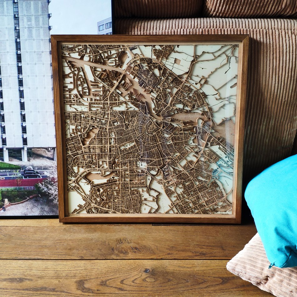 Amsterdam CityWood Custom Wooden map wood laser cut maps https://thecitywood.com/ CityWood is a wooden map artwork. City streets, water - Laser Cut Wooden Maps - Award Wining Design by architect and designer Hubert Roguski