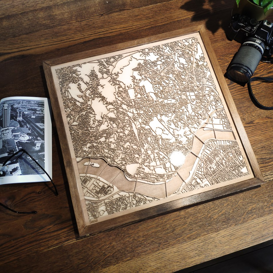 Seoul CityWood Custom Wooden map wood laser cut maps https://thecitywood.com/ CityWood is a wooden map artwork. City streets, water - Laser Cut Wooden Maps - Award Wining Design by architect and designer Hubert Roguski
