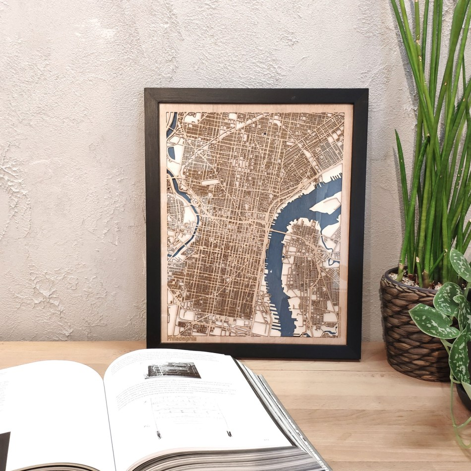 Philadelphia CityWood Custom Wood Map laser cut maps https://thecitywood.com/ CityWood is a wooden map artwork. City streets, water - Laser Cut Wooden Maps - Award Wining Design by architect and designer Hubert Roguski