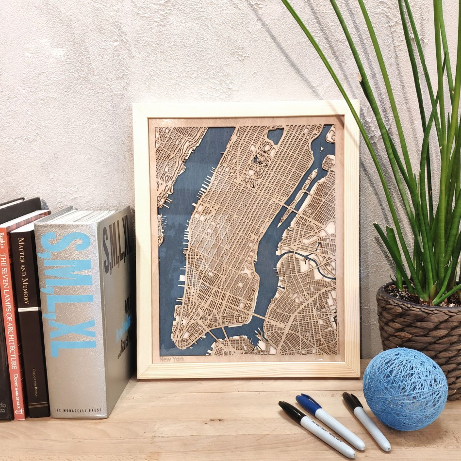 New York CityWood Custom Wood Map laser cut maps https://thecitywood.com/ CityWood is a wooden map artwork. City streets, water - Laser Cut Wooden Maps - Award Wining Design by architect and designer Hubert Roguski