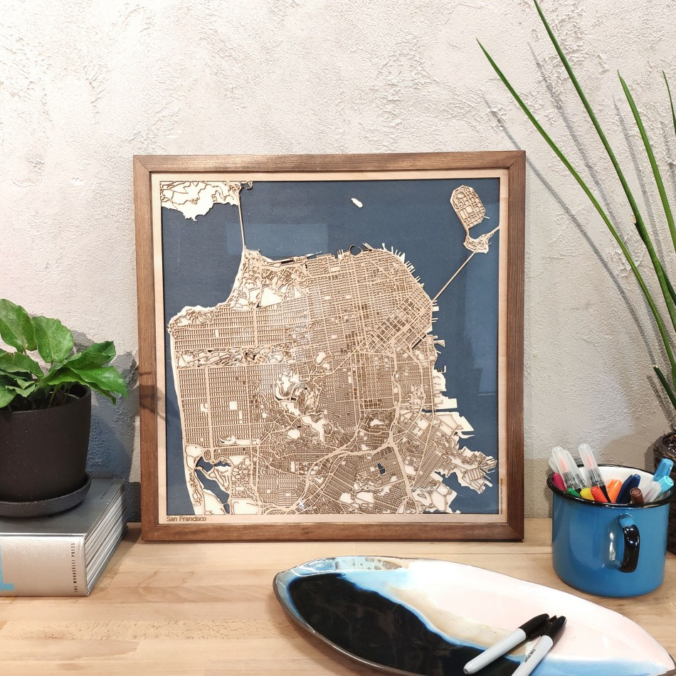 San Francisco CityWood Custom Wood Map laser cut maps https://thecitywood.com/ CityWood is a wooden map artwork. City streets, water - Laser Cut Wooden Maps - Award Wining Design by architect and designer Hubert Roguski