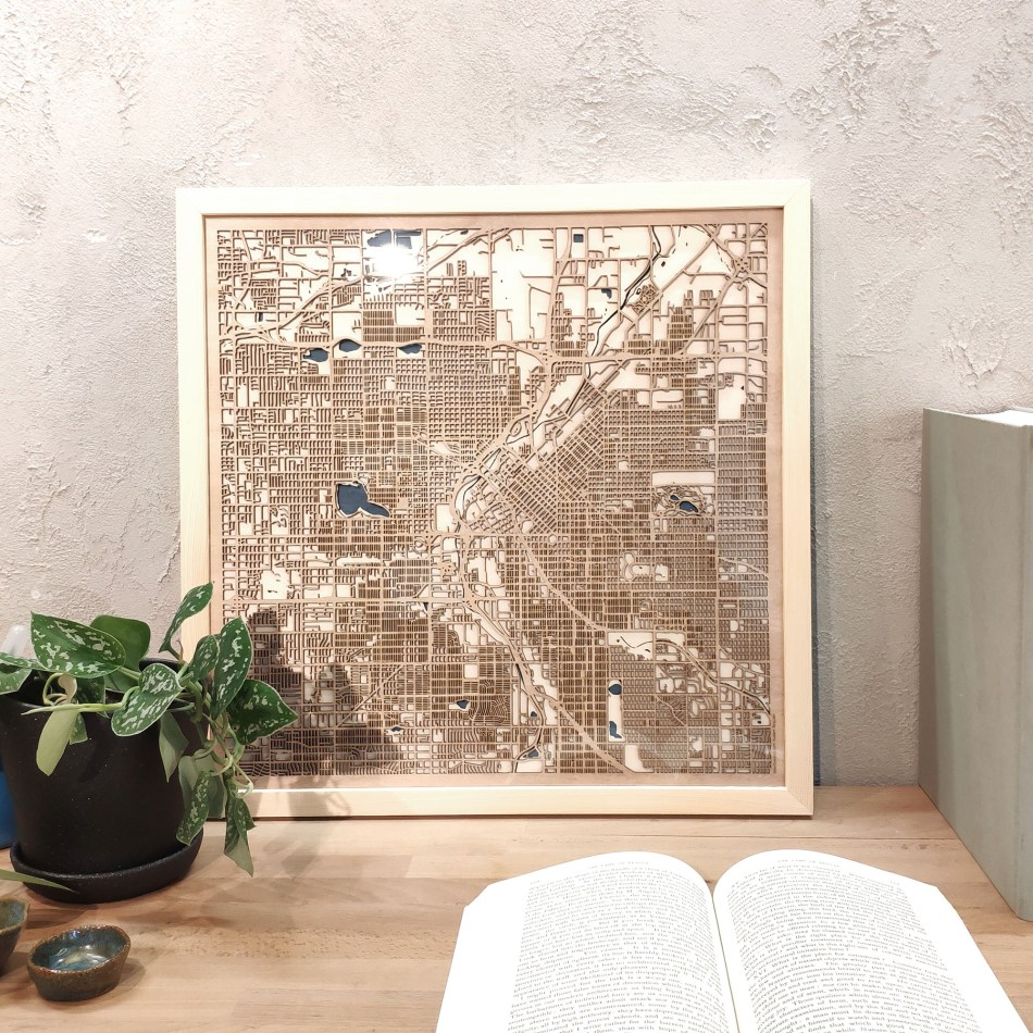 Denver CityWood Custom Wood Map laser cut maps https://thecitywood.com/ CityWood is a wooden map artwork. City streets, water - Laser Cut Wooden Maps - Award Wining Design by architect and designer Hubert Roguski