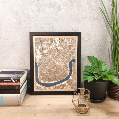 New Orleans Wooden map wood laser cut maps