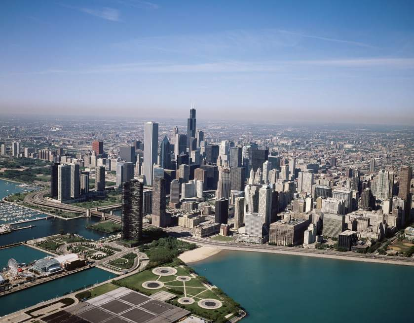 aerial view of chicago