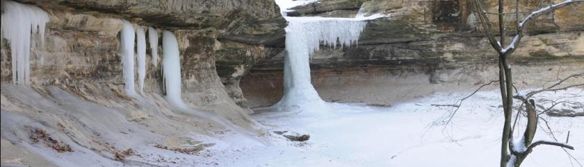 A Starved Rock State Park waterfall in winter