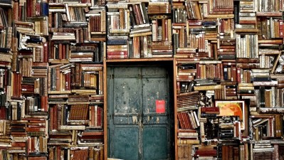 decorative image of wall packed with books