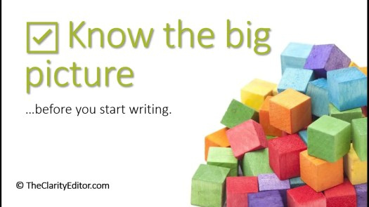 Know the big picture before you start writing, with image of a jumbled stack of blocks