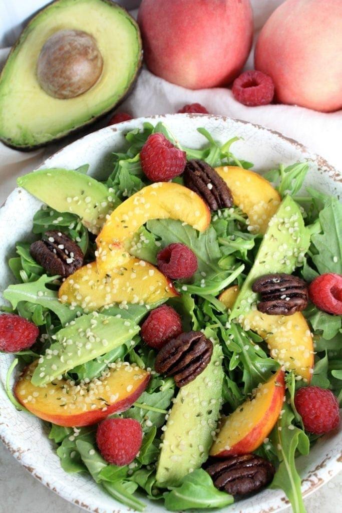Healthy Summer Peach Arugula Salad Recipe