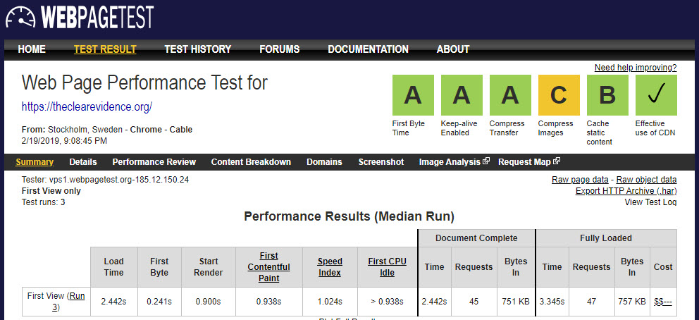 19th February 2019 - Web Page Performance Test Result for The Clear Evidence