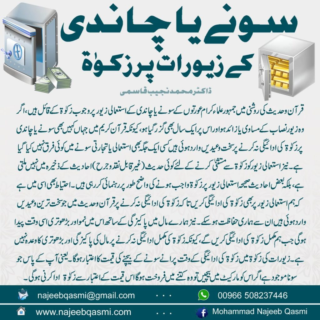 Zakat on Gold and Silver Jewelry - Dr. Mohammad Najeeb Qasmi (Urdu)