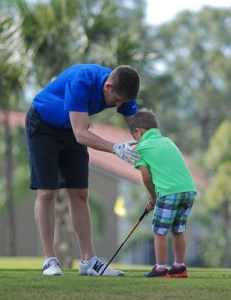 Mike, Ethan, golfing-5